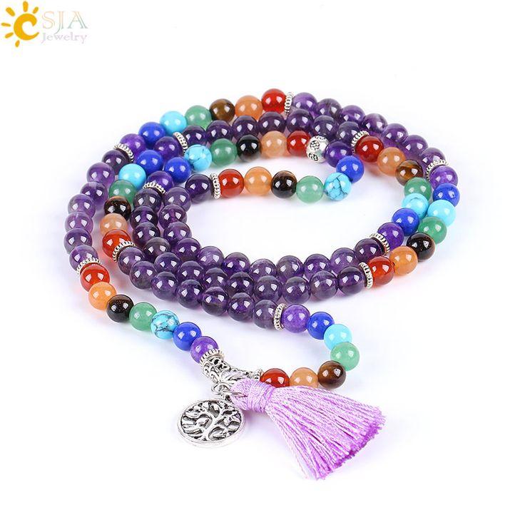 CSJA Reiki Natural 7 Chakra Multi-layer Charms Bracelets for Women Purple Quartz Mala Yoga Beads Meditation Healing Tassel E655 #Affiliate