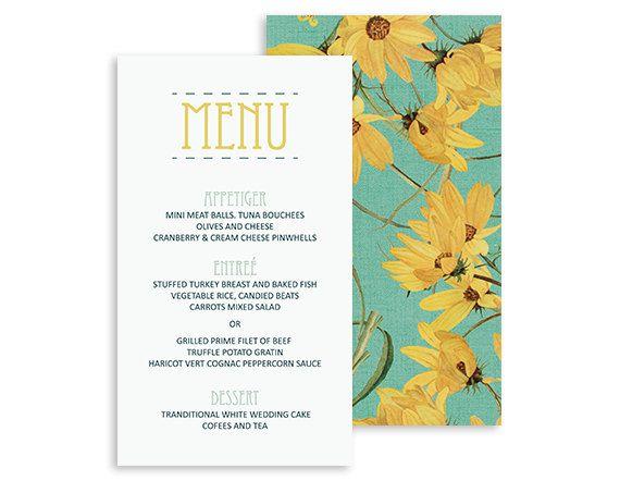 Garden dinner menu card - Wedding reception flower - Botanical Wedding - Printable digital files - Mint, Yellow - 5x7 | Yellow Daisy