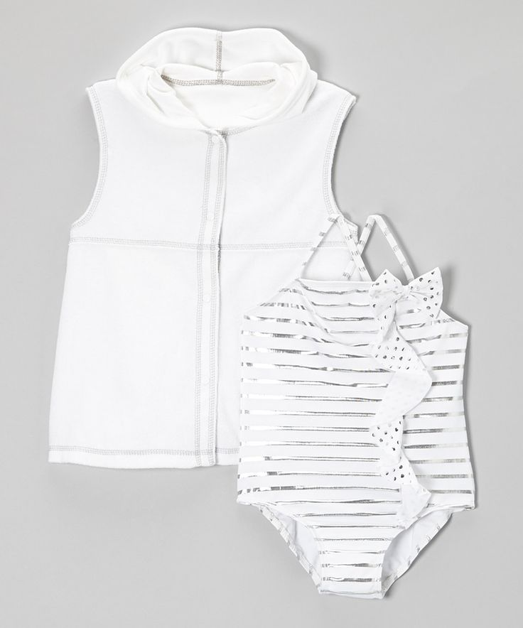 Love this Baby Buns White Stripe One-Piece & Cover-Up