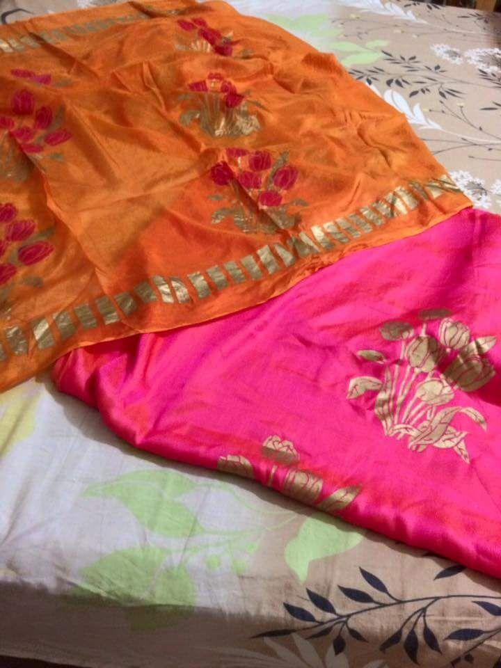 Majestic Pink And Orange Block Printing Suit In Dupian Silk