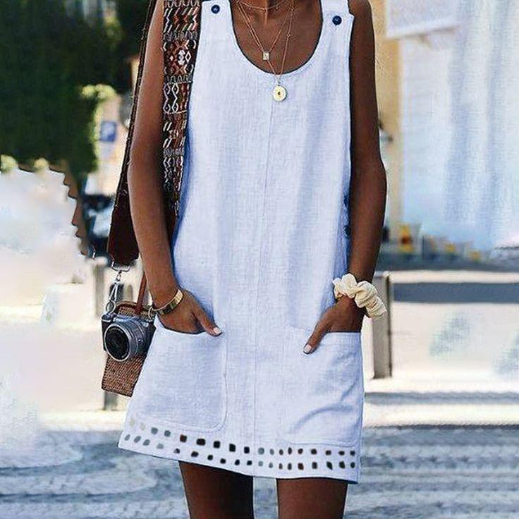 Casual Solid Button Decor Pocket Design Dress