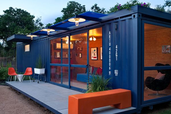 A cute little shipping container home.