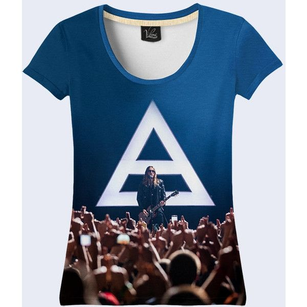 Rock Band 30 Seconds To Mars Women T-shirt. (97 BRL) ❤ liked on Polyvore featuring tops, t-shirts, blue t shirt, blue top, rock tees, rock t shirts and rock tops