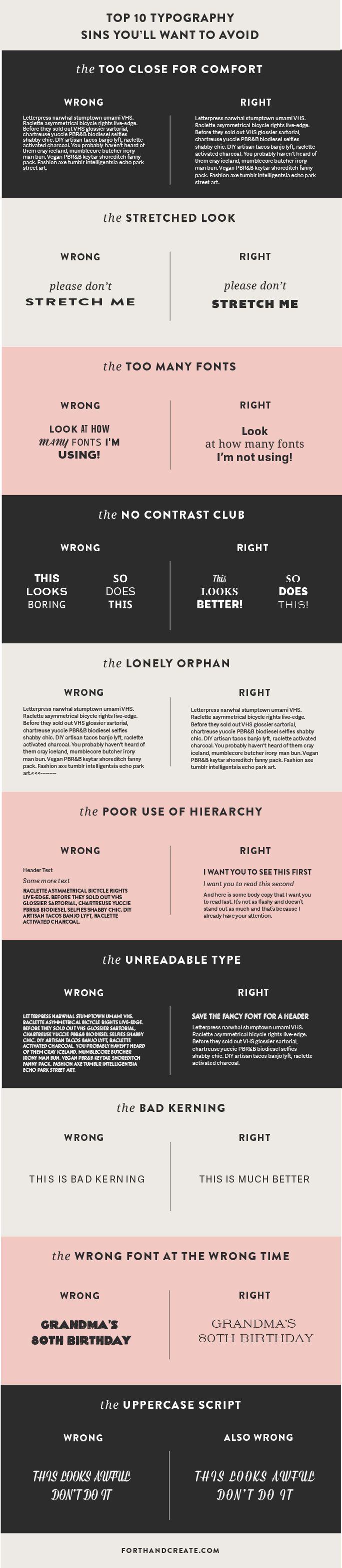 The top 10 typography sins you'll want to avoid. Click through to learn more.