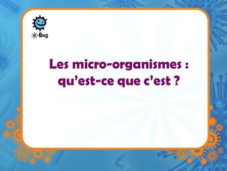 Les micro-organismes : quest-ce que cest ?. Microbes –Les microbes sont des organismes vivants unicellulaires –Trop petits pour être visibles à loeil.