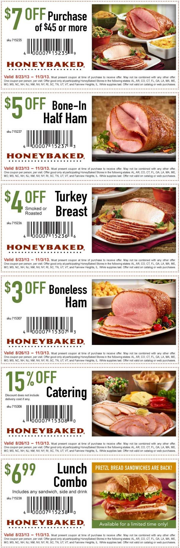Pinned August 28th: $7 off $45 and more at Honey#Baked Ham #coupon via The Coupons App