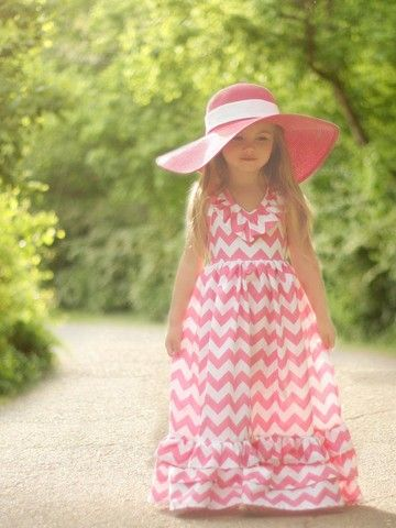 Pattern for floor length maxi dress for little girls sizes 2T - 10 years.