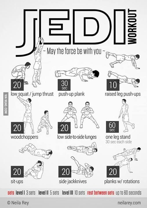 Jedi Workout - do this for three sets and you will be so sore.