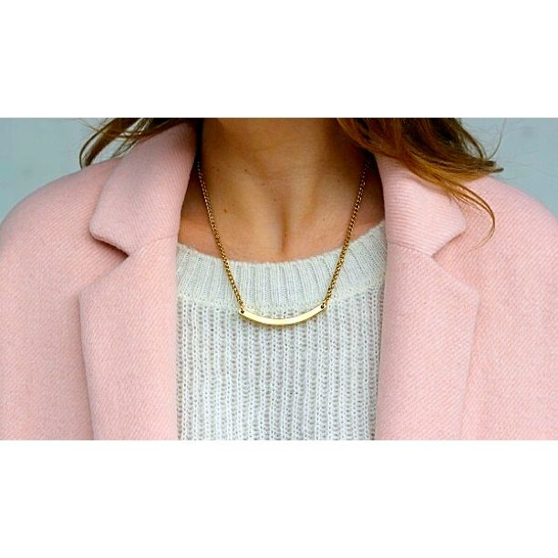 ARC necklace Gold necklace worn by Amy (Curated by Amy) Liel and Lentz - Designed and made in Toronto #Jewelry #Necklace #Gold #Minimal #Fashion #Modern