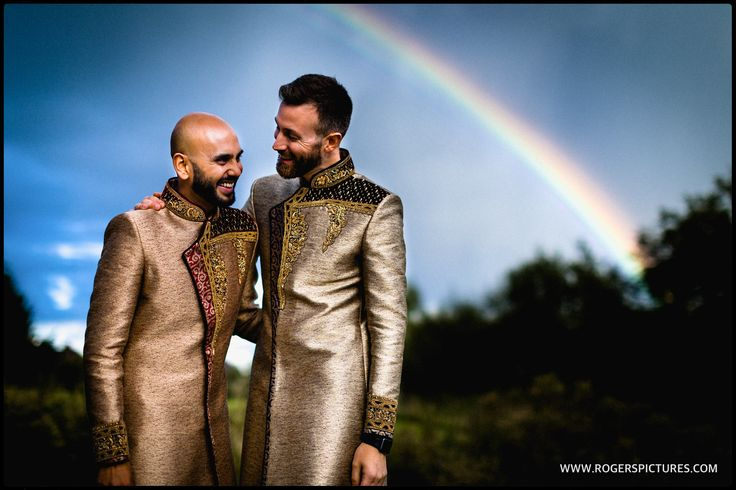Good fortune smiled on us as we started the portraits - a well timed rainbow for this same sex wedding portrait!