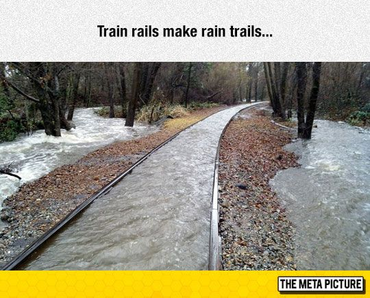 Train Rails Preventing Water From Escaping