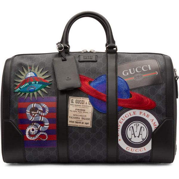 Gucci Black GG Supreme Patches Duffle Bag (100,650 THB) ❤ liked on Polyvore featuring men's fashion, men's bags, black, mens leather duffel bag, gucci mens bag, mens leather bag, mens leather duffle bag and men's duffel bags