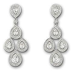 Swarovski Sensation Boucles d'Oreilles -Cette paire de boucles d'oreilles plaquées rhodium arbore des cristaux clairs en forme de poire qui bougent librement, comme sur un lustre. Ornées d'un pavé