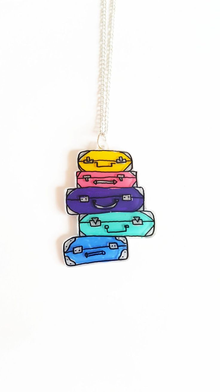 Suitcase Shrink Plastic Jewelry / Shrinky Dink Necklace - Funny Gifts (SKU: SDN2) by PinkBlueArtUK on Etsy