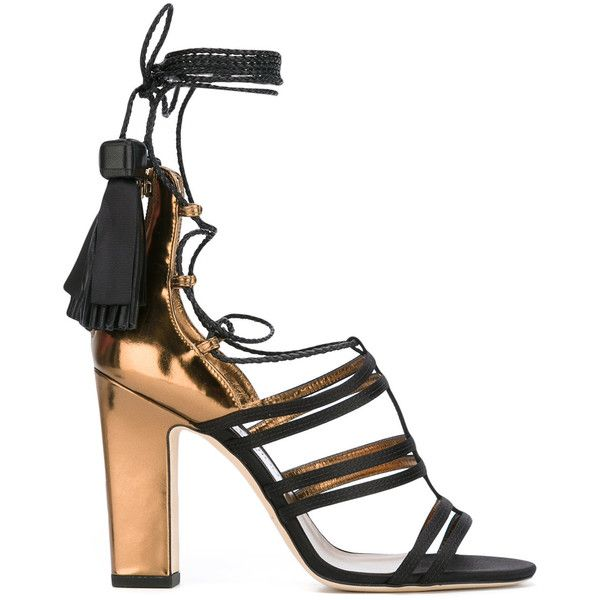 Jimmy Choo Diamond 100 sandals (£930) ❤ liked on Polyvore featuring shoes, sandals, black, black strappy shoes, black strappy sandals, black sandals, black tassel sandals and strappy sandals