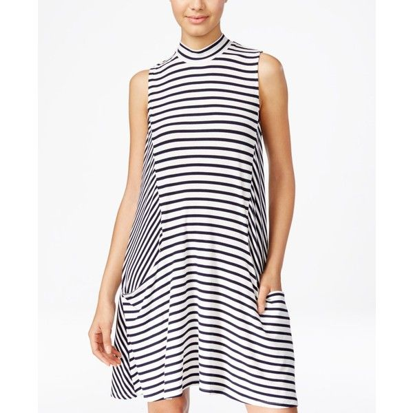 Trixxi Juniors' Striped Swing Dress ($19) ❤ liked on Polyvore featuring dresses, navy, navy stripe dress, navy blue dress, trixxi dresses, white striped dress and navy striped dress