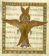 Sacramentaire de Drogon: Miniature représentant un séraphin à 6 ailes déployées et au visage encadré des têtes d'aigle, de lion et de boeuf (Ezech 1,10) folio15r.- HISTORIQUE DU MANUSCRIT, 2: Le manuscrit reste conservé dans le trésor de la cathédrale St-Etienne de Metz jusqu'à la Révolution française. il est alors déposé à la bibliothèque de l'école centrale de la ville. L'ancien bibliothécaire de la catrhédrale et commissaire du gouvernement le fait saisir avec 15 autres manuscrits pour…