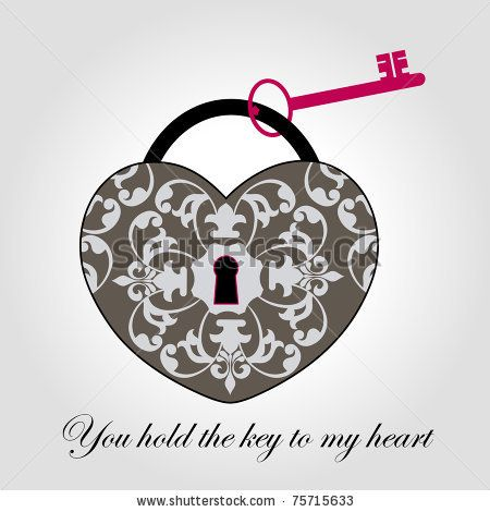 stock vector : Decorative Antique Lock with Key  - Heart Shaped
