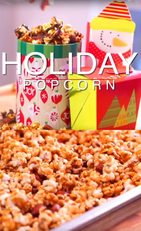 Holiday Popcorn Recipe | Perfect for holiday entertaining or gifting, this caramel corn packs just the right amount of crunch. Chocolate and almonds add a little extra yum. #desserts