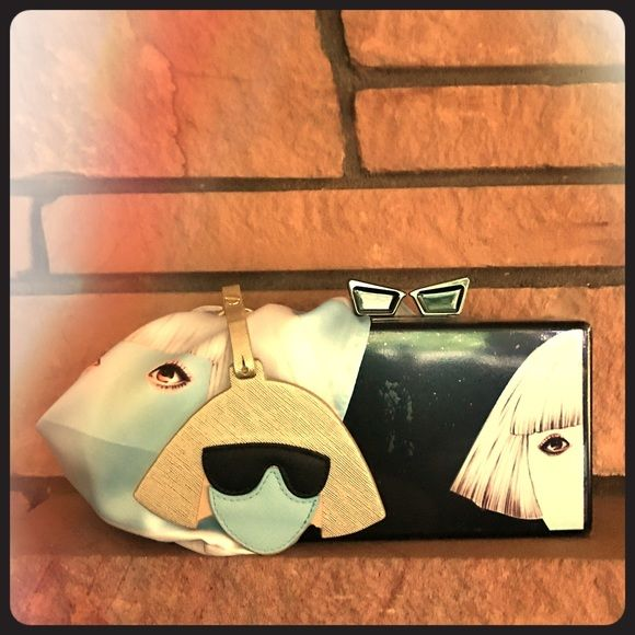 """🍇 HP 50% off Sale! 🍇NWT Lady Gaga Box-Style Bag 💓💓In honor of this bag being selected as a host pick, it will be 50% off ($22 down from $44) until midnight tonight (3/25/17)!!! 💓💓.  This unique Lady Gaga purse is so cute! 🍇 Measurements... width 7"""", height 4 1/4"""", depth 2"""". 🍇 From a smoke-free and happy-to-bundle closet. 🍇 The scarf and key fob are available in separate listings. [N131,300-302] LOVE BRAVERY Bags Clutches & Wristlets"""