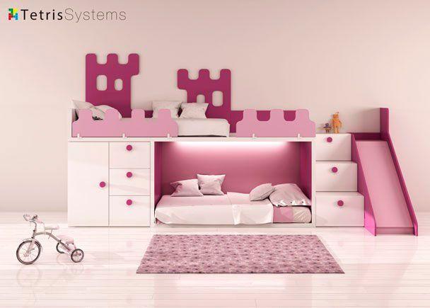 Dormitorio para bebé: Tren Rubbik con tobogán y arrimadero castillo | Habitación infantil con Litera RUBBIK con escalera de 3 peldaños y composición mural. Las barandi