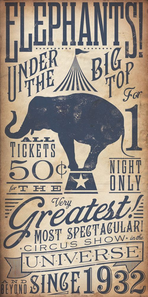 Circus Elephant vintage style childrens graphic by geministudio