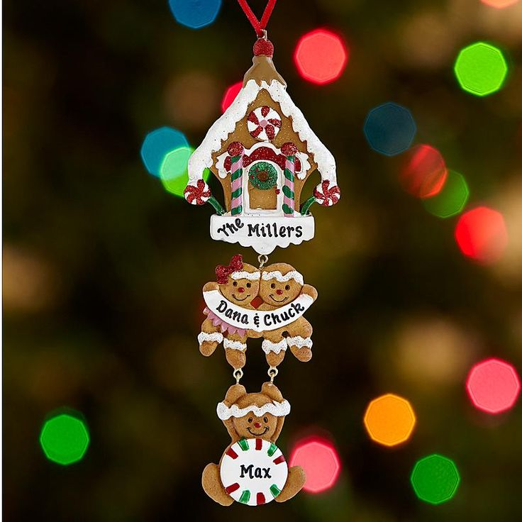 Gingerbread House Family Ornament - Our gingerbread house ornament has 2-6 gingerbread cookies to represent Mom, Dad and up to 4 kids.