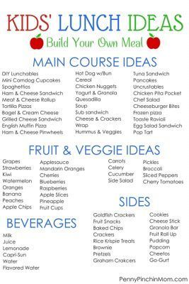 Kids' School Lunch Ideas! 30 days of complete menus PLUS printable you can use to customize your own meals!!