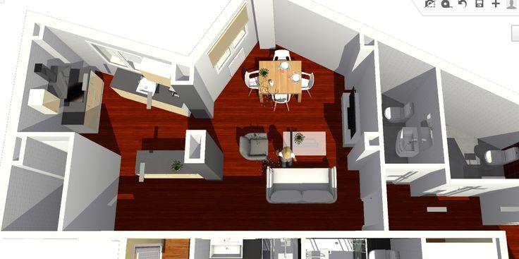 VIV.A vista de detalle de zona de salón y cocina