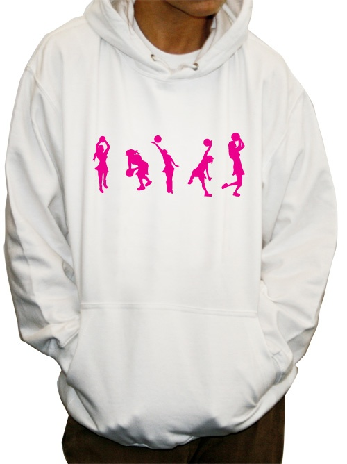 Netball figures available in any colour on t shirts and hoodies with room for your team name or any extra customisation