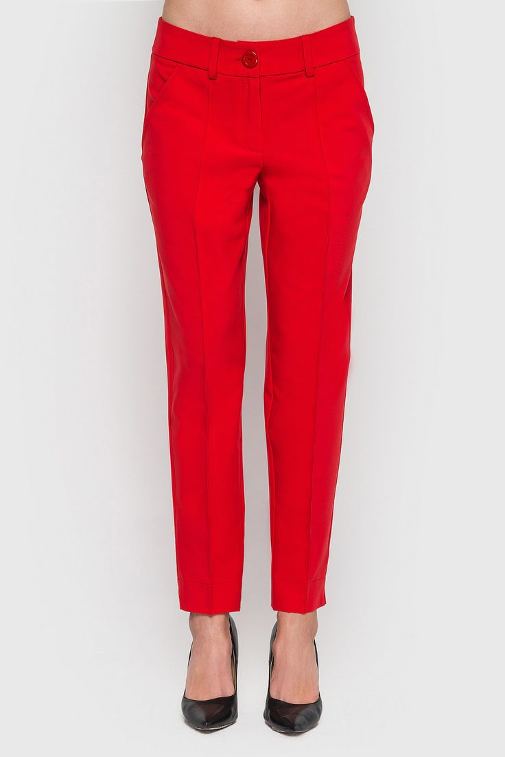 Red arrowed costume fabric pants 29$. Classic arrowed pants will add elegant and confident to its owner. This #pants, usually used for making office and business looks. But this model is able to break down stereotypes! The bright red colour, will make holiday mood, you should only add some accessories. #VOVK