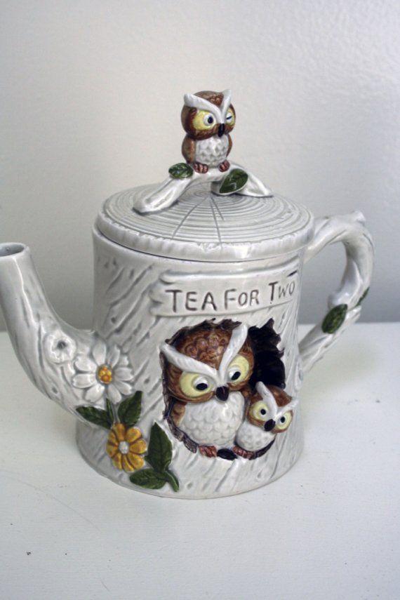 Tea for Two Vintage Enesco Owl Tea Set by holliewouldvintage