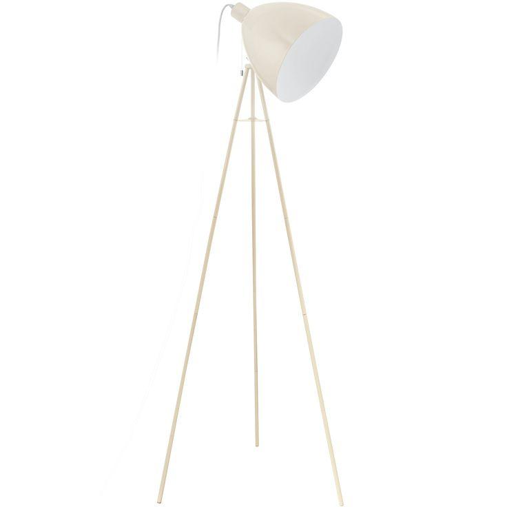 Lámpara de pie de aires vintage, fabricada en acero lacado en blanco crudo.  Su diseño se sostiene una minimalista tripode de finas patas, convietiéndola en una pieza sofisticada y elegante con un puntito retro irresistible.   Tiene una altura de 135,5cm, un ancho de 60cm y un fondo de 60cm.