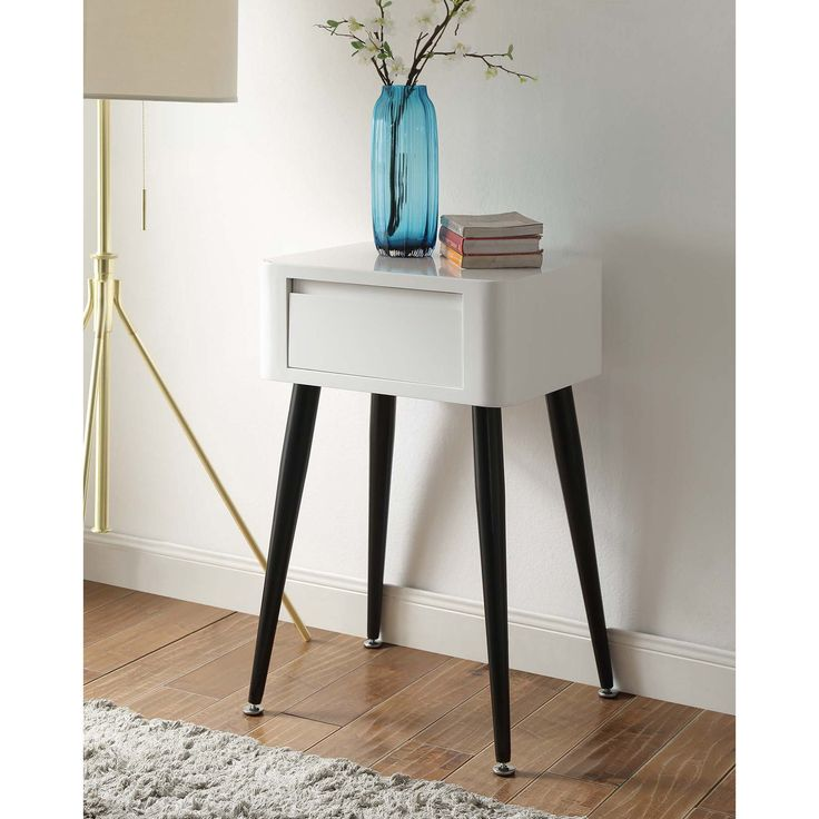 Black And White Mid Century Modern Tall Side Table (Black U0026 White)
