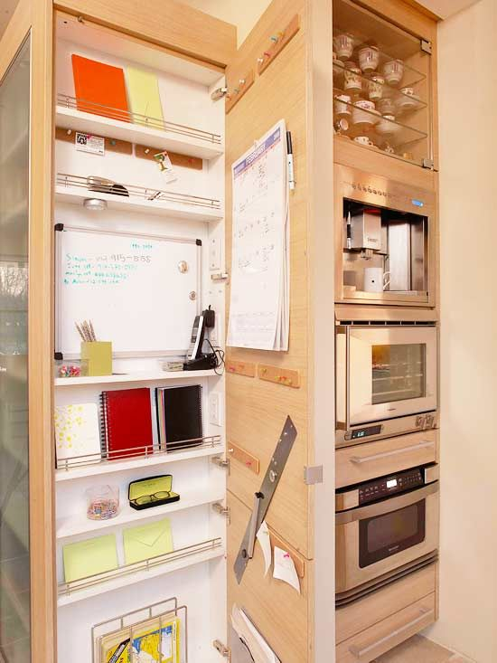 Such an amazing idea.  Command center built into the side of a cabinet (especially the side of a built in fridge! usually wasted space!): Command Stations, Command Center, Built In, Organization Station, Families Command, Life Organizations, Organizations Stations, Kitchens Cabinets, Offices Supplies