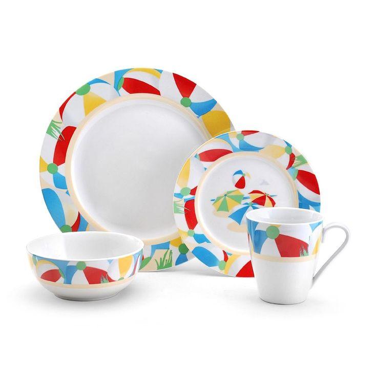 Summer Dinnerware Set 16 Piece Service for 4 Beach Patio Deck Plates Bowls Mugs #SummerDinnerwareSet