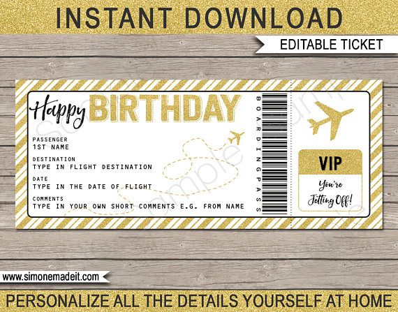 Birthday Boarding Pass Gift Surprise Trip Getaway Holiday Printable Gold Plane Ticket Voucher Instant Download Editable Text Surprise Trip Reveal Boarding Pass Template Ticket Template