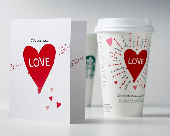 This cup was part of a Valentines Day campaign that was created between Starbucks Global Creative and the global digital marketing team. The campaign included a customer appreciation card, special limited edition Valentine's Day cup, and an interactive app that makes the art on the cup come to life.