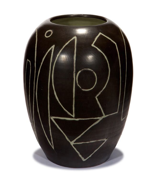 Arne Bang; Intaglio Carved Glazed Ceramic Vase, ca. 1948.