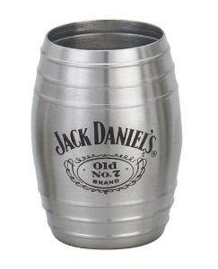 This stainless steel barrel shot is modeled to be a scaled down version of the actual Jack Daniel's Whiskey barrels.  The Jack Daniel's Swing logo and Old No. 7 Brand Cartouche logo appears on one side of the shot glass.