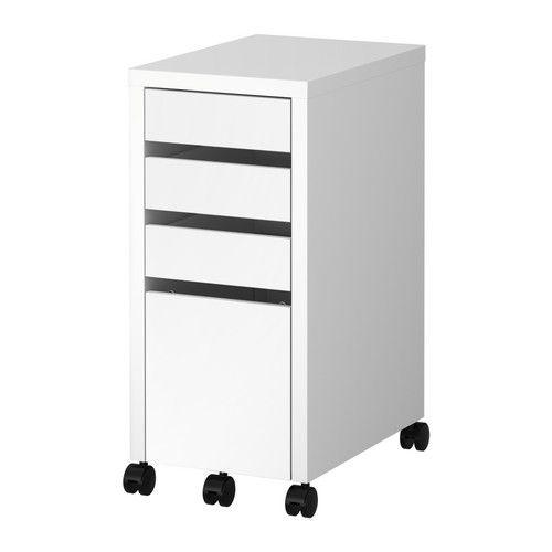 IKEA - MICKE, Caisson à tiroir-classeur, blanc, , Les butées empêchent le tiroir de sortir complètement de la structure du meuble quand vous l'ouvrez.L'arrière est fini, se place donc dans le milieu d'une pièce sans problème.Agrandissez la surface de travail en combinant bureaux et caissons à tiroirs de la collection MICKE. Ces éléments sont tous de la même hauteur.