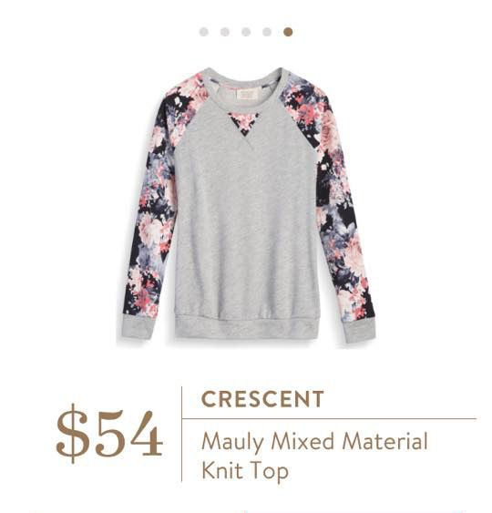 Stitch Fix: Crescent Mauly Mixed Material Knit Top - I love the cozy look of this with the pretty floral sleeves!