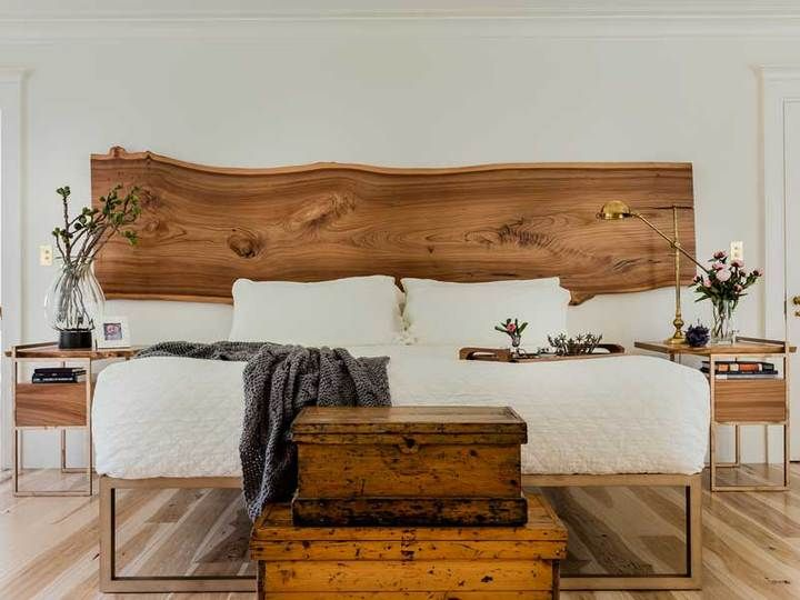 Live Edge Headboard with Bronze Platform Bed - Half Crown Design