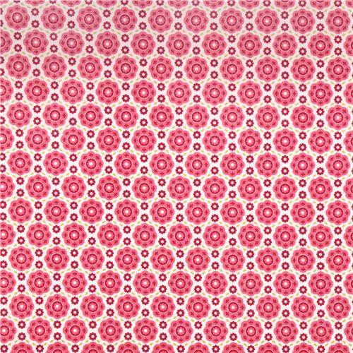 Tissu laminé blanc avec des fleurs rose et des feuilles, par Riley Blake - Toiles cirées - Tissus - boutique kawaii modeS4u