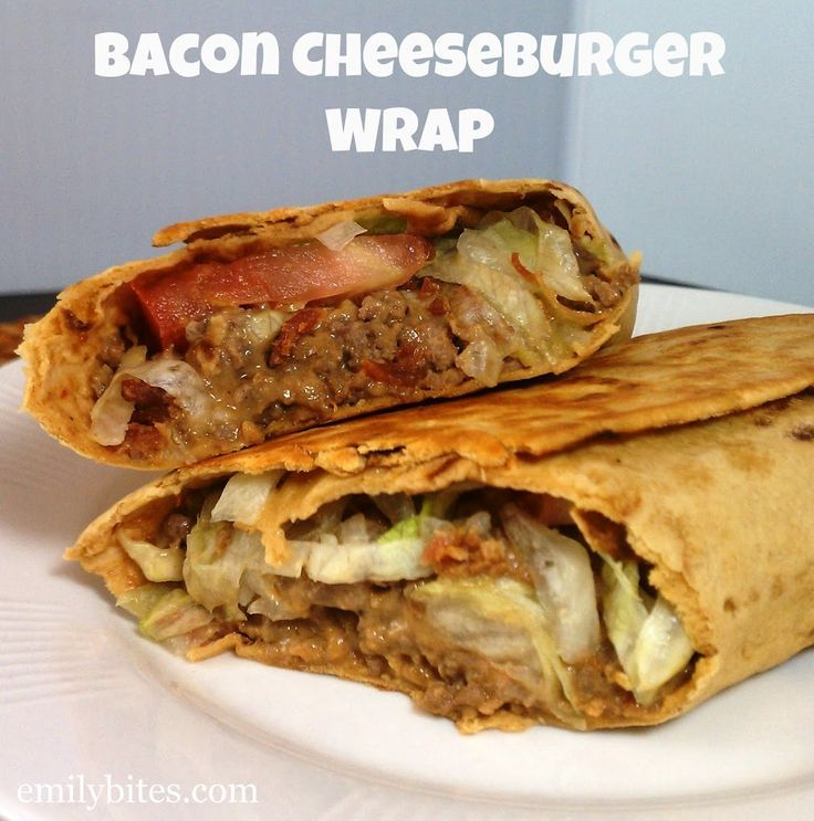Bacon Cheeseburger Wraps - SO filling, delicious and easy to make for just 335 calories or 8 Weight Watchers points per wrap! www.emilybites.com #healthy