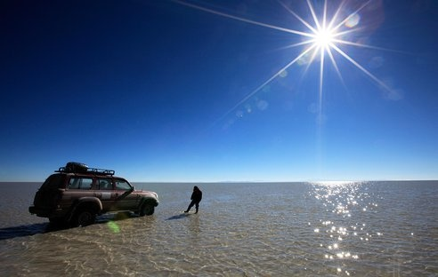 Wow! Bolivia's Salar de Uyuni is one of the least inhabitable areas of the world. In the remote location of Southwest Bolivia, this landscape, normally an arid, barren surface of salt, becomes one of the world's largest mirrors during the rainy season!