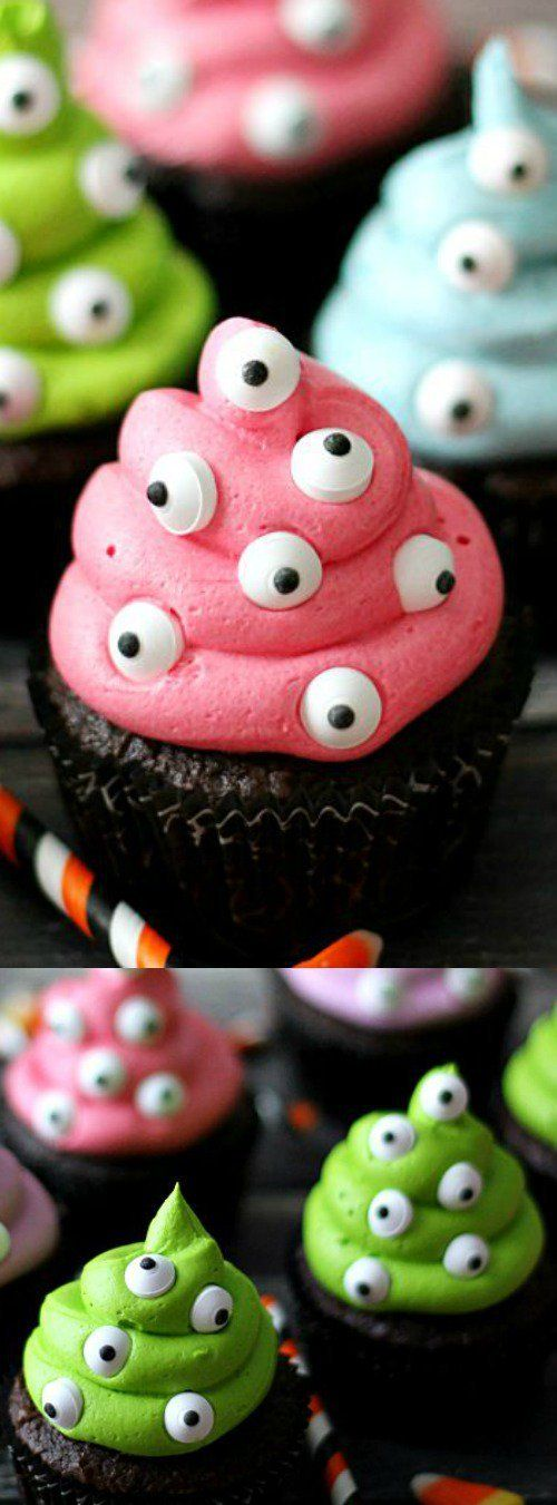 These Monster Cupcakes from Life With the Crust Off are an easy spooktacular dessert for Halloween! Bright and fluffy buttercream is dotted with the most adorable candy eyes!
