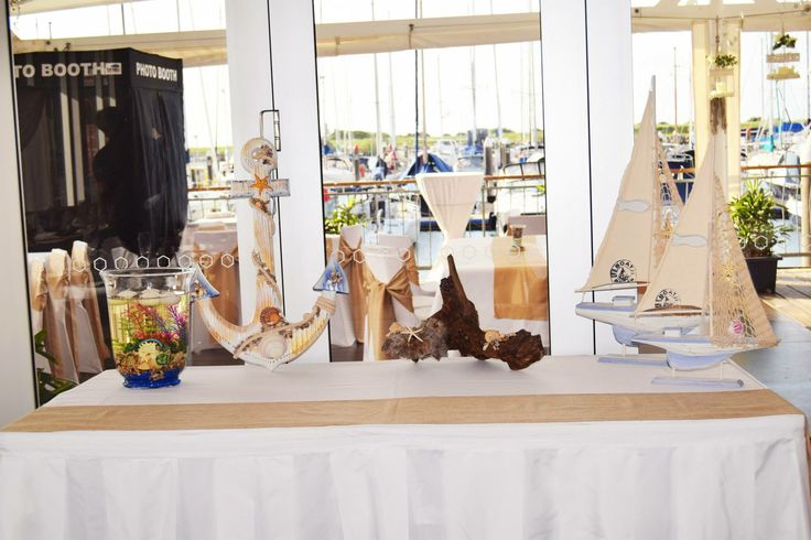 The gift table - looking out onto the deck where a photo booth is set up.