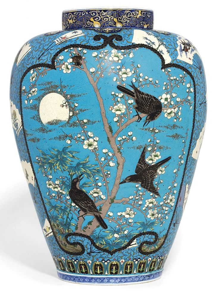 A Rare Large Cloisonné Enamelled Arita Vase Signed Shippo Takeuchi Chubei , Meiji Period (late 19th century) The porcelain body over-enamelled in various colours and decorated in wire with fans bordering two large shaped panels with crows in a moonlit scene, chrysanthemums and bambo