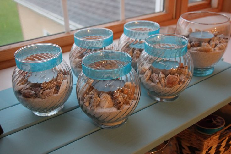 "5 Ideas For A Great Beach Themed Wedding In Puglia: DIY Bridal Shower ""beach"" Centerpieces"